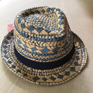 Mossimo Tan- Blue Straw Hat New w/Tags One Size